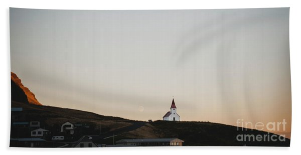 Church On Top Of A Hill And Under A Mountain, With The Moon In The Background. Beach Towel