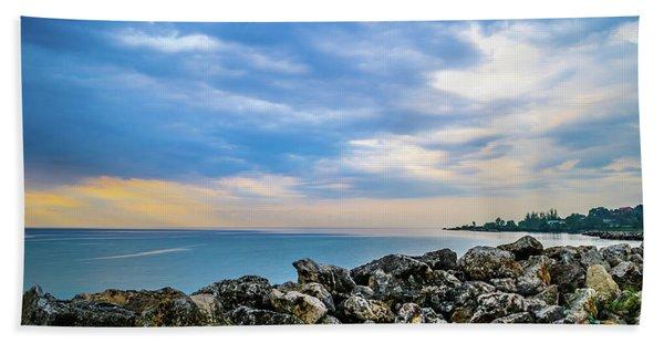 Cloudy City Coastline Beach Towel