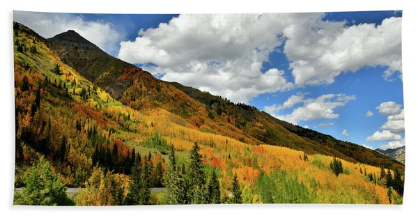 Color In The Spotlight At Red Mountain Pass Beach Towel