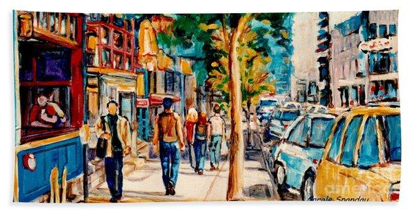 Colorful Cafe Painting Irish Pubs Bistros Bars Diners Delis Downtown C Spandau Montreal Eats         Beach Towel