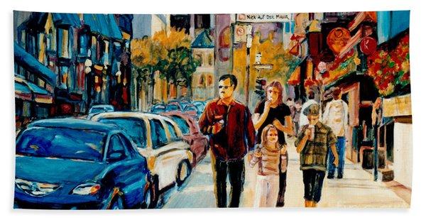 Colorful Downtown City Scene Painting Family Stroll Summer Streets C Spandau Urban Canadian Artist Beach Towel