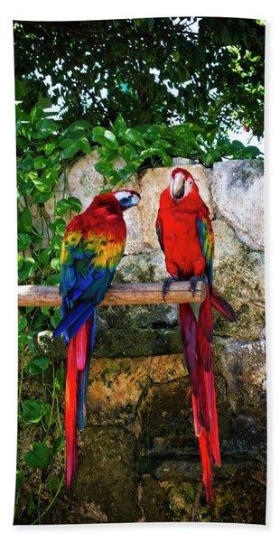 Colorful Parrots Beach Towel