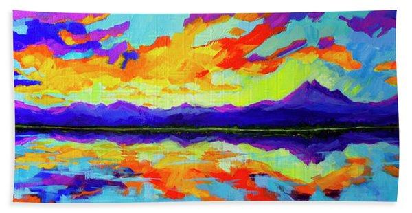 Colorful Sunset At Mcintosh Lake, Colorado Mountain Range Beach Sheet