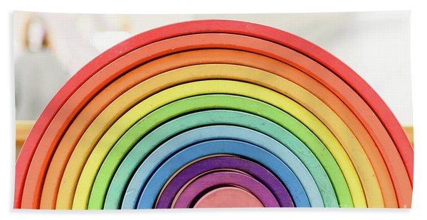 Colorful Waldorf Wooden Rainbow In A Montessori Teaching Pedagogy Classroom. Beach Towel