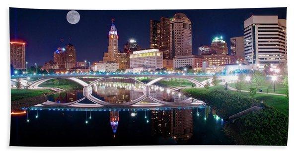 Columbus Ohio Full Moon Pano Beach Towel