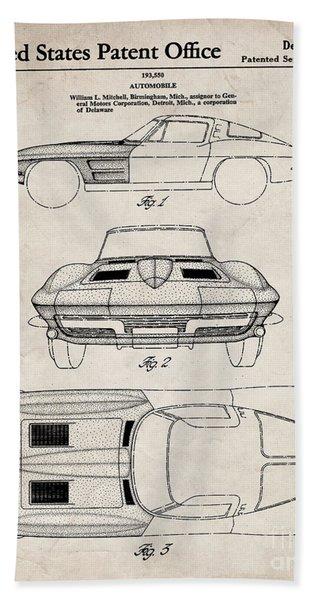 Corvette Stingray Patent, Classic Corvette Art - Antique Vintage Beach Towel