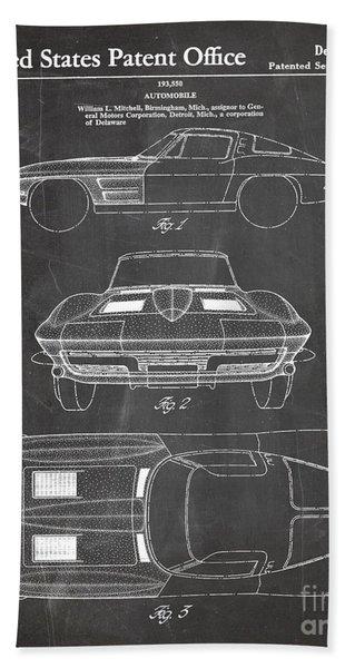 Corvette Stingray Patent, Classic Corvette Art - Chalkboard Beach Towel