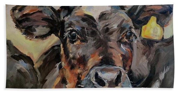 Cow In Oil Paint Beach Towel