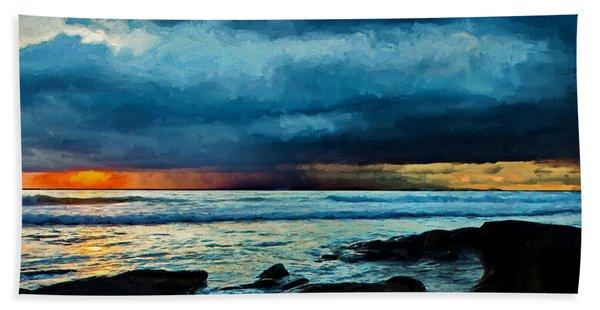 Distant Rain Clouds Beach Towel