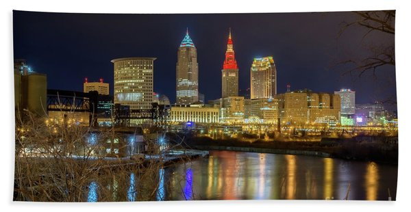 Downtown Cleveland At Night Beach Towel