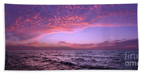 Dramatic Ocean And Sky Scene After Sunset Beach Towel