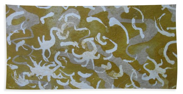 Dull Yellow With Masking Fluid Beach Towel