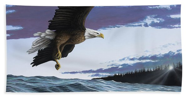 Eagle In Flight Beach Towel