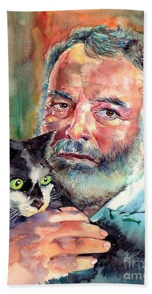 Ernest Hemingway Portrait Beach Towel