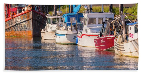 Evening At The Harbor Beach Towel