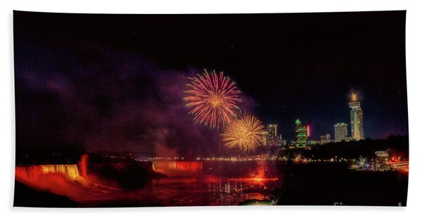 Fireworks Over The Falls. Beach Towel
