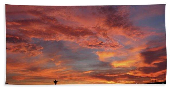 Firey Red Seattle Sky Beach Towel