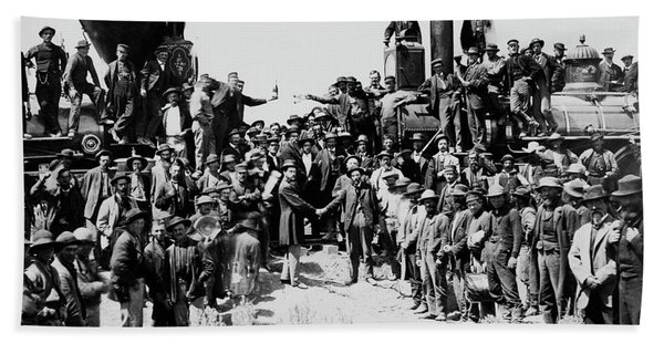 First Opening Of The Transcontinental Railroad - 1869 Beach Towel