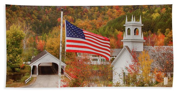 Beach Towel featuring the photograph Flag Flying Over The Stark Covered Bridge by Jeff Folger