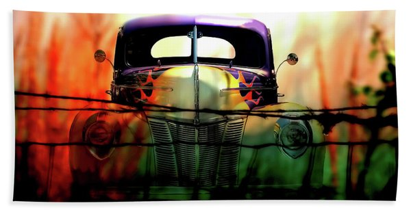 Flamed And Barbed Vintage Car Beach Towel