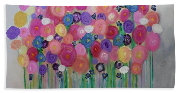 Floral Balloon Bouquet Beach Towel