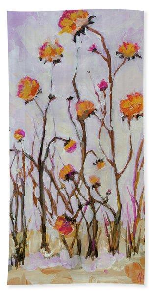 Flowers In Winter Beach Sheet