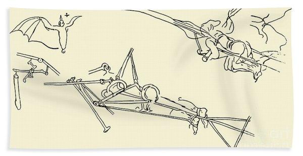 Flying Machines Designed By Leonardo Da Vinci Beach Towel