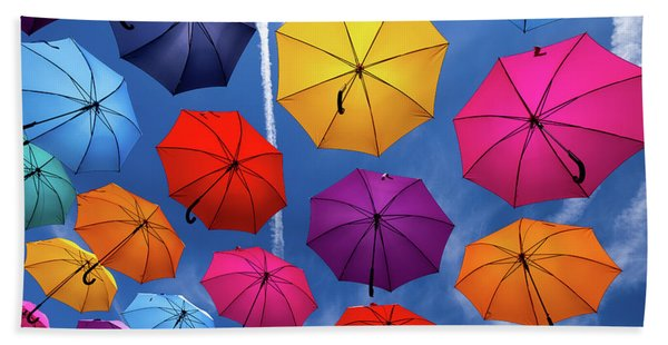 Flying Umbrellas I Beach Towel