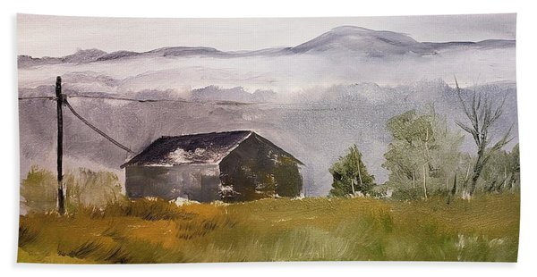 Foggy Tennessee Barn Beach Towel