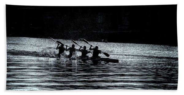 Beach Towel featuring the photograph Four Rowers by Tom Singleton