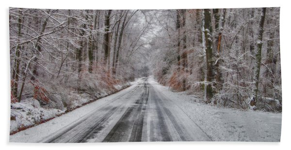 Frozen Road Beach Towel
