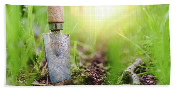 Gardening Shovel In An Orchard During The Gardener's Rest Beach Towel