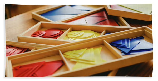 Geometric Material In Montessori Classroom For The Learning Of Children In Mathematics Area. Beach Towel