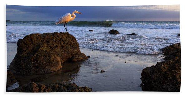 Giant Egret Beach Towel