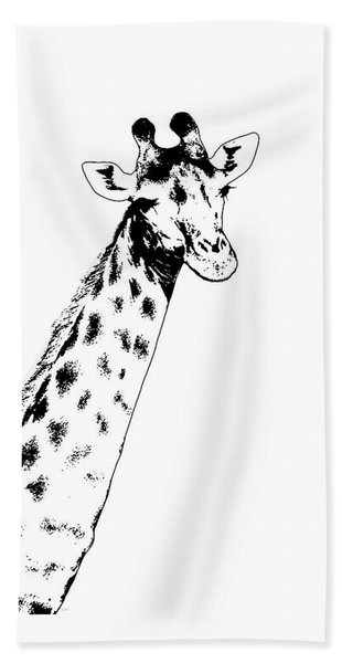 Giraffe In Black And White Beach Sheet