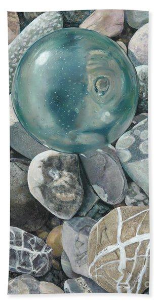 Glass Float And Beach Rocks Beach Towel