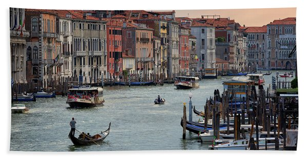 Grand Canal Gondolier Venice Italy Sunset Beach Towel