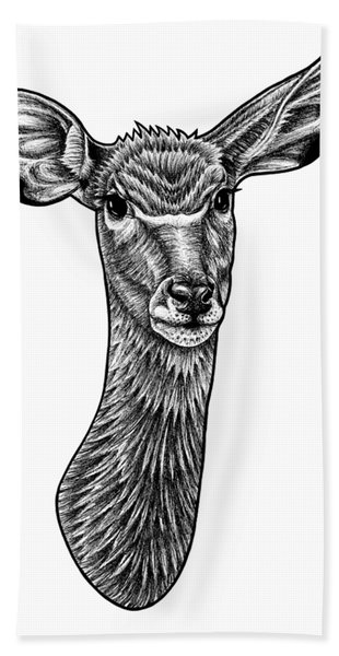 Greater Kudu - Ink Illustration Beach Towel