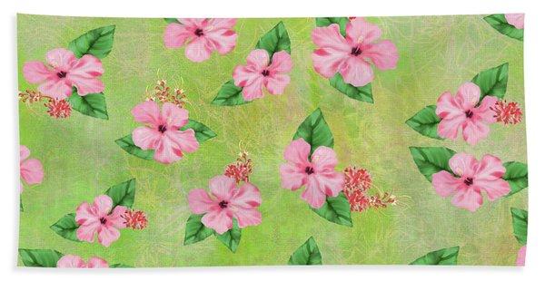 Green Batik Tropical Multi-foral Print Beach Sheet