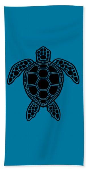 Green Sea Turtle Design - Black Beach Towel