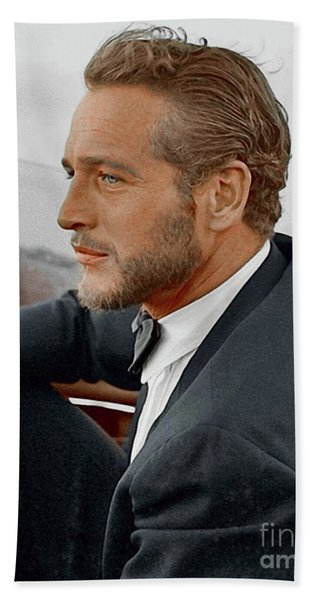 Hand Colored Picture Of Paul Newman Beach Towel