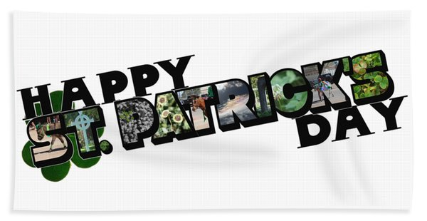 Happy St. Patrick's Day Big Letter Beach Towel