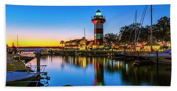 Harbor Town Lighthouse - Blue Hour Beach Towel