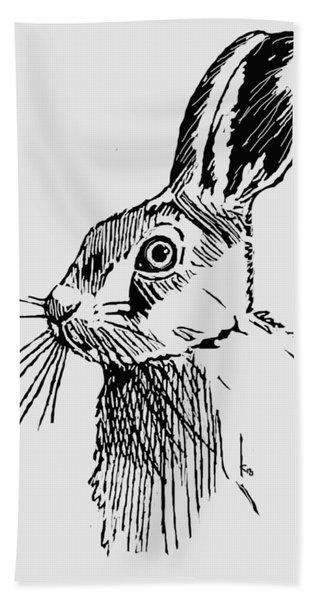 Hare On Burlap Beach Towel