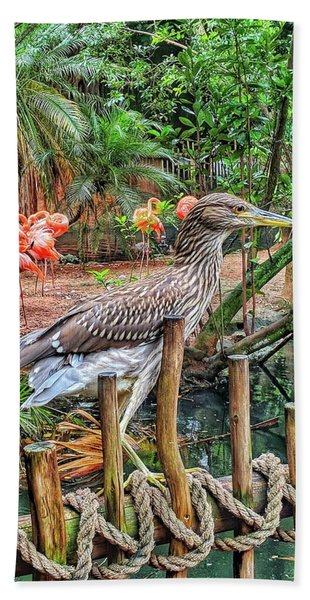 Heron On Guard Beach Towel