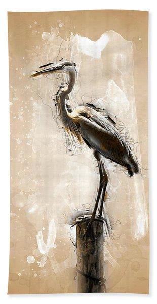 Heron On Post Beach Towel
