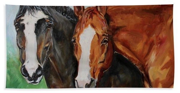 Horses In Oil Paint Beach Towel