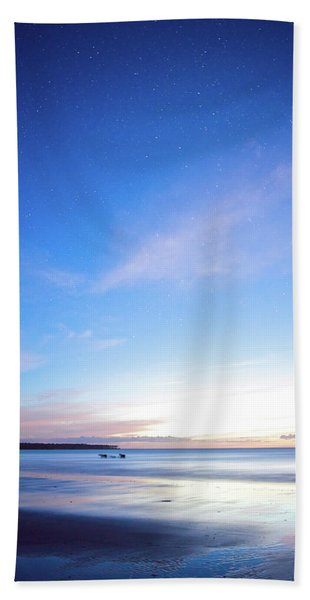 Horses Play In The Surf At Twilight Beach Towel