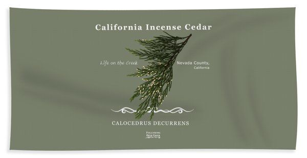 Incense Cedar - White Text Beach Towel