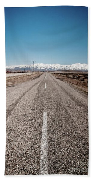 infinit road in Turkish landscapes Beach Towel